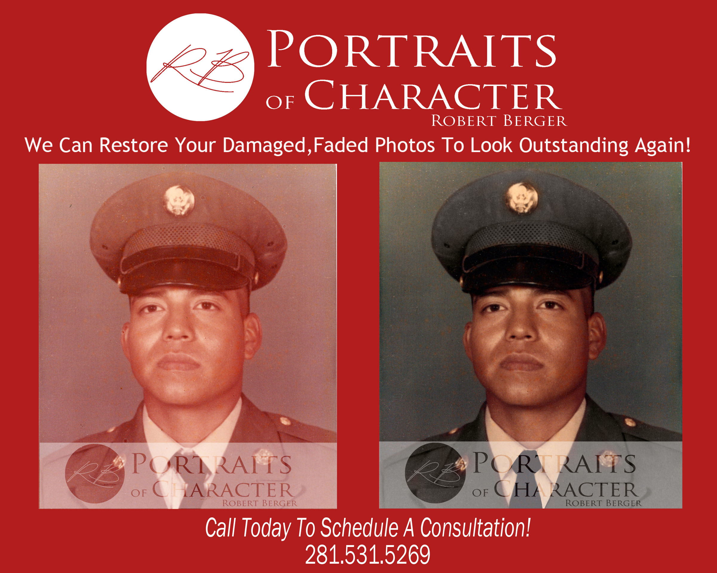 houston photo restoration picture restoration photograph restoration Portraits of Character by Robert Berger serving houston,katy fort bend, Texas 11211 Richmond Ave Suite B101, Houston Texas 77082